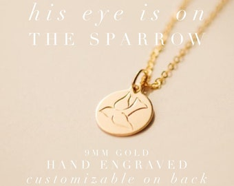 429feed72 Sparrow Pendant Necklace | Hand Engraved Gold Pendant Necklace | Gold  Letter Necklace | Wedding Gift Idea | Bridal Shower | Mother Gift
