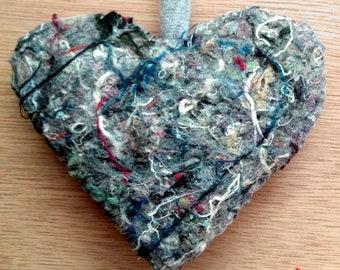 Ornament / Repurposed / Heart / Hand Sewn