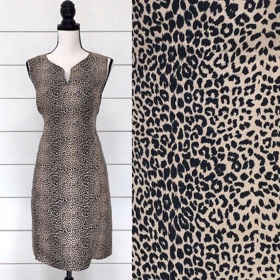 Vintage 1990s   Silk Leopard Print Shift Dress