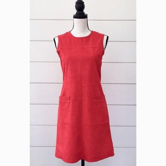 Vintage 1990s | Anna Sui Red Suede Jumper Dress - image 1