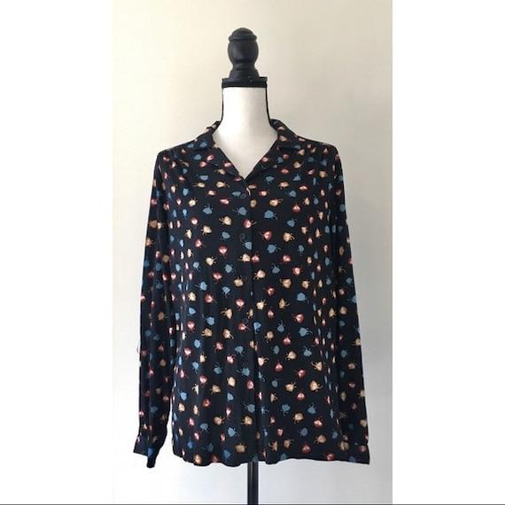 Vintage 1970s   Tulip Print Button Down Shirt - image 2