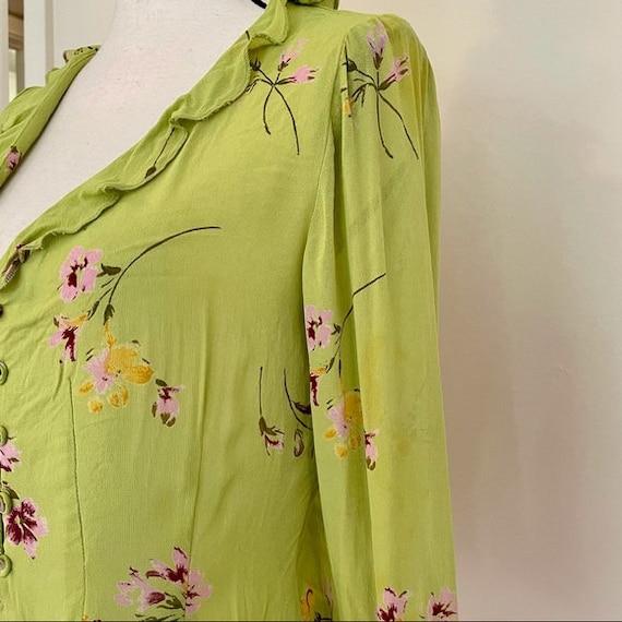 Vintage Y2K | Floral Chartreuse Cottagecore Blouse - image 4
