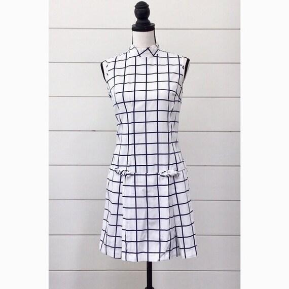 Vintage 1960s | Windowpane Mini Romper Dress