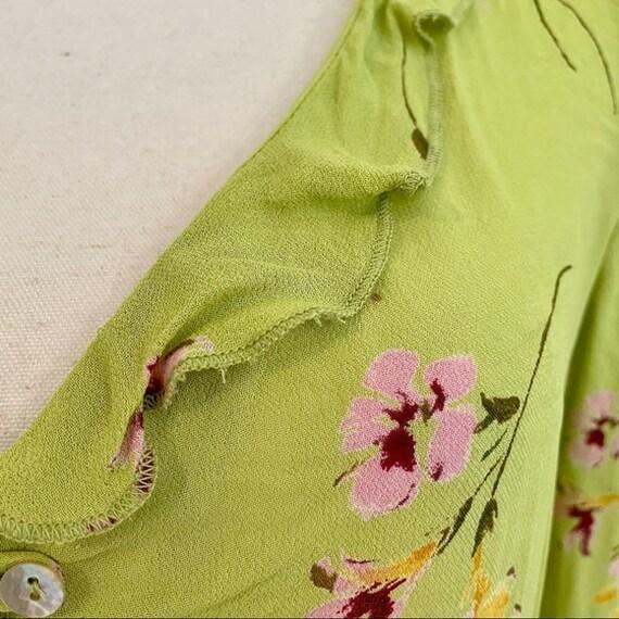 Vintage Y2K | Floral Chartreuse Cottagecore Blouse - image 6