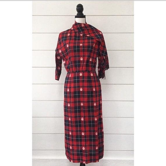 Vintage 1950s | Plaid Holiday Midi Column Dress