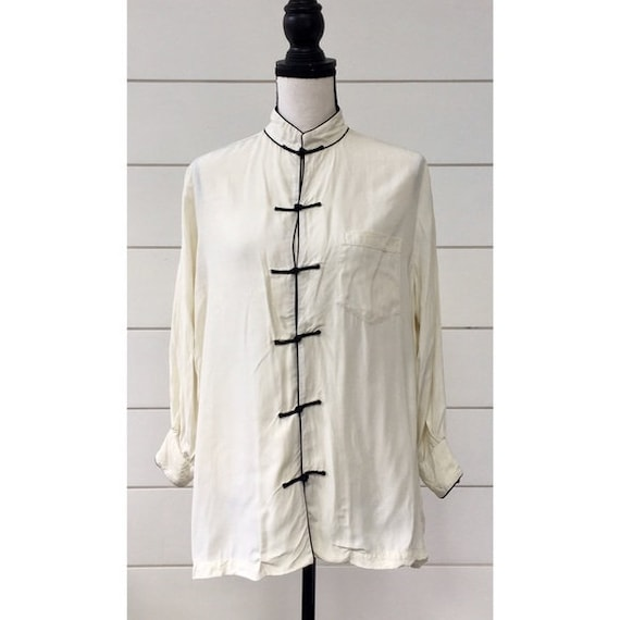 Vintage 1950s | Button Up Chinese Blouse
