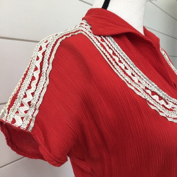 Vintage 1950s   Western Style Red Dress - image 3