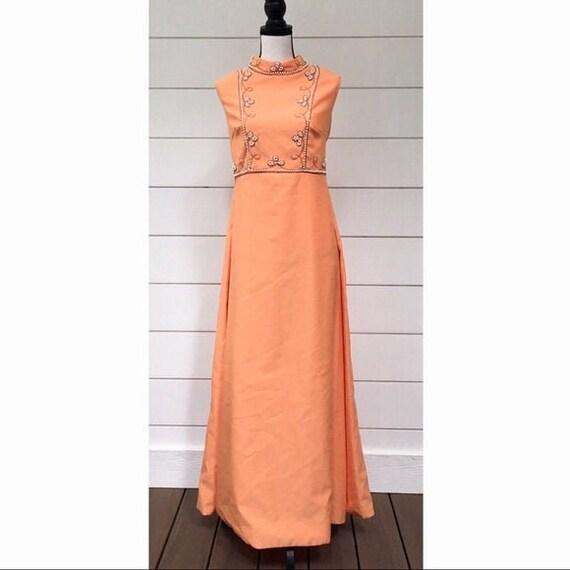 Vintage 1960s | Tangerine Prom Dress