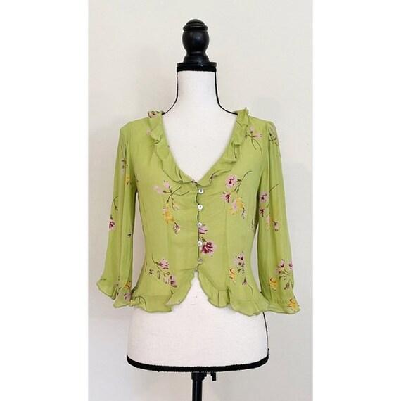 Vintage Y2K | Floral Chartreuse Cottagecore Blouse - image 1