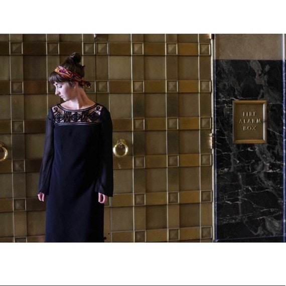 Vintage 1990s | Lattice Black Dress - image 2