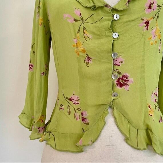 Vintage Y2K | Floral Chartreuse Cottagecore Blouse - image 3