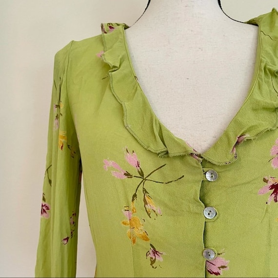 Vintage Y2K | Floral Chartreuse Cottagecore Blouse - image 2