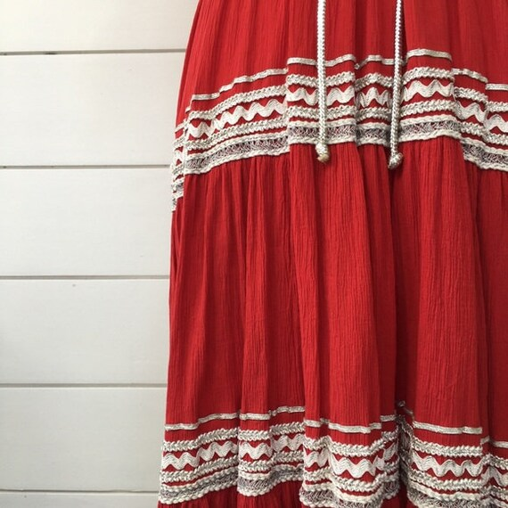 Vintage 1950s   Western Style Red Dress - image 5