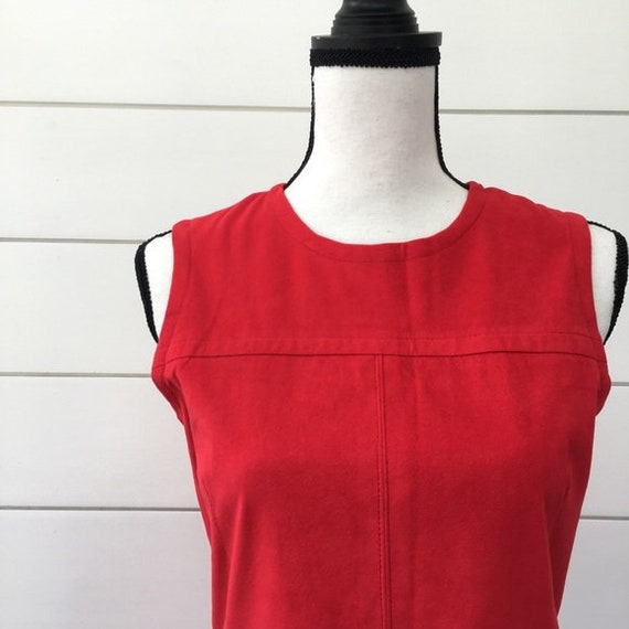 Vintage 1990s | Anna Sui Red Suede Jumper Dress - image 3