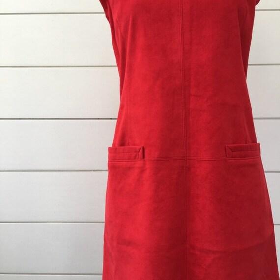 Vintage 1990s | Anna Sui Red Suede Jumper Dress - image 2
