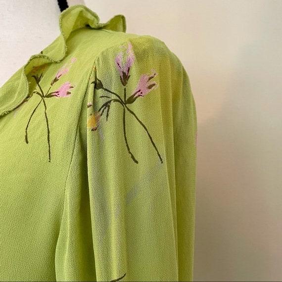 Vintage Y2K | Floral Chartreuse Cottagecore Blouse - image 5