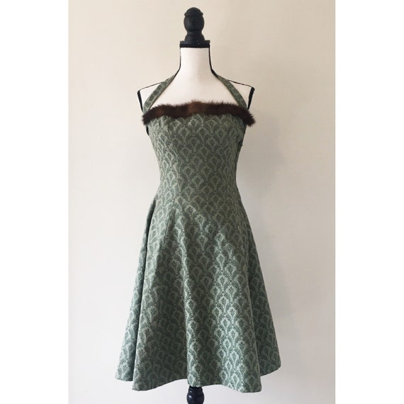Vintage 1950s | Mink Lined Brocade Halter Dress