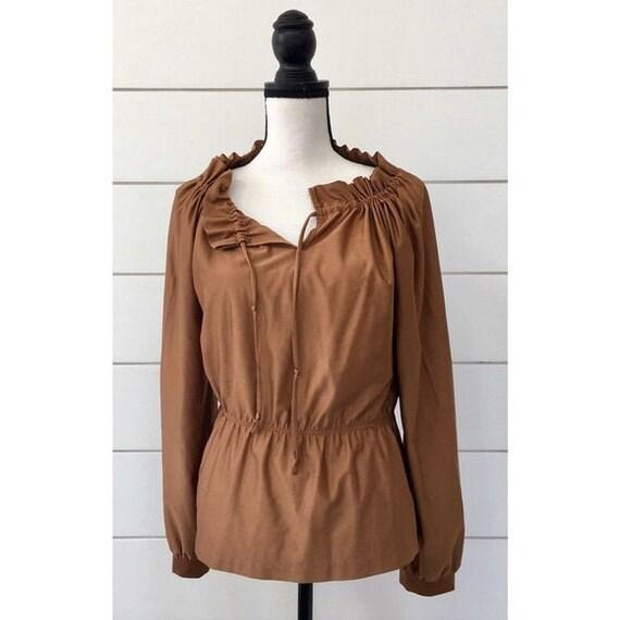 Vintage 1970s | Copper Peasant Style Blouse