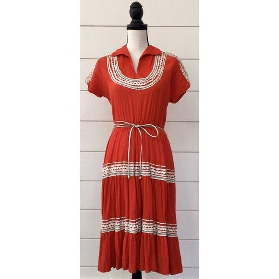 Vintage 1950s | Western Style Red Dress
