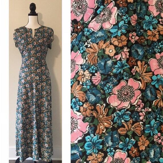 Vintage 1970s | Metallic Floral Maxi Dress
