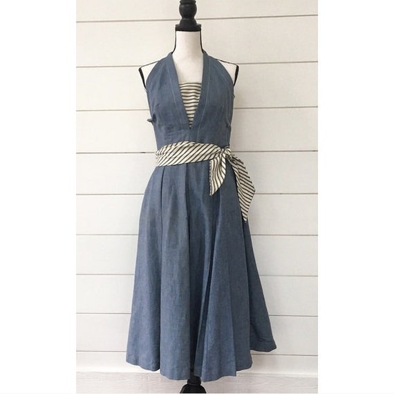 Vintage 1950s | Chambray Halter Midi Dress