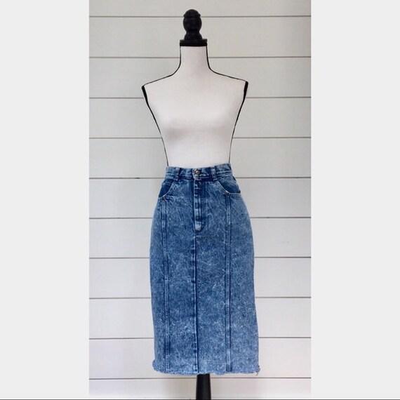 Vintage 1980s | Acid Wash Denim Skirt