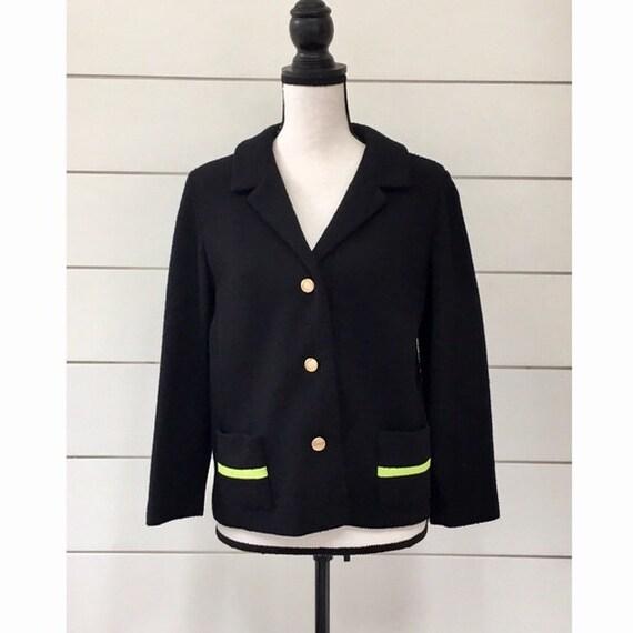 Vintage 1960s   Black & Neon Green Knit Blazer