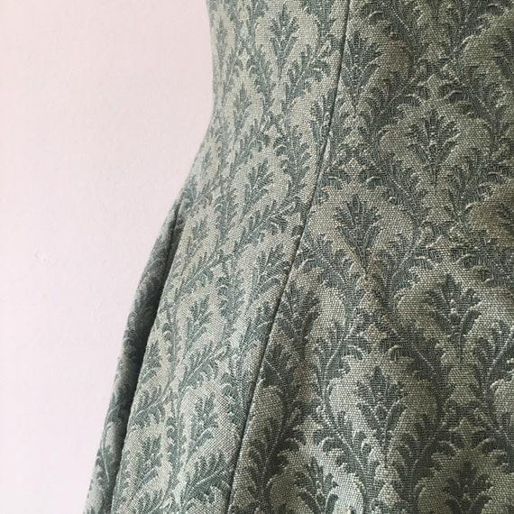 Vintage 1950s   Mink Lined Brocade Halter Dress - image 4