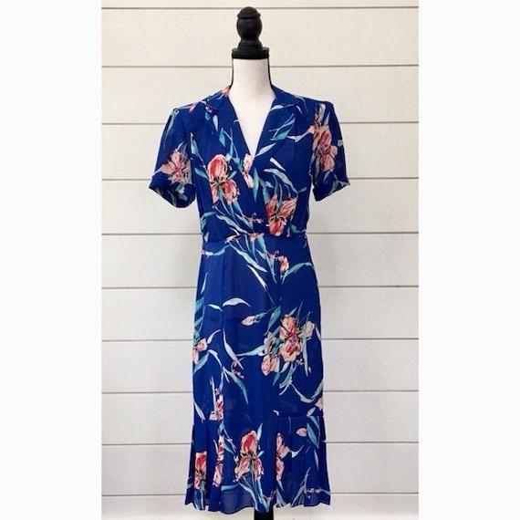 Vintage 1980s | Sheer Floral Midi Dress