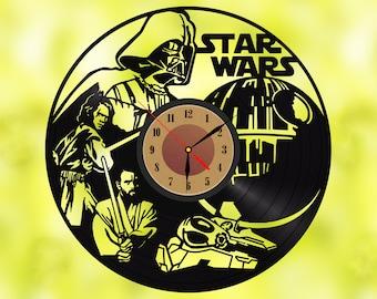 Star Wars Vinyl Wall Clock Record Wall Clock Wall Decor Vinyl Art Home Decor for Living Room Star Wars Gift for Him
