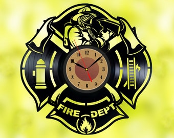 Nozzleman vinyl Waterman record Fireguard wall clock Fireman vinyl record clock Fireman wall art 18th birthday gift boyfriend christmas gift