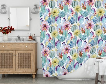 Cactus Shower Curtain, Long Shower Curtain, Bath Curtain, Shower Curtain, Shower  Curtain 72 X 78, Waterproof Fabric
