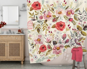 Boho Shower Curtain Floral Watercolor Flowers Bath Waterproof Fabric Rustic