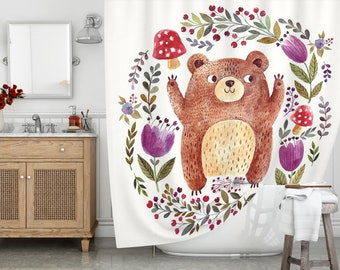 Long Shower Curtain 72 X 78 Bath Cute Bear Waterproof Fabric Watercolor Print