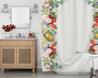 Floral Shower Curtain Boho Watercolor Flowers Bath Waterproof Fabric Rustic