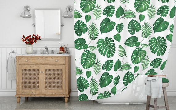 Botanical Shower Curtain Watercolor Tropical Print Long