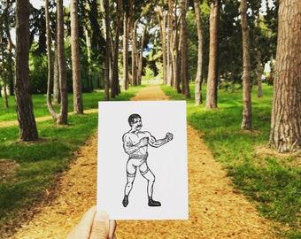 Boxer - Letterpress Greeting Card