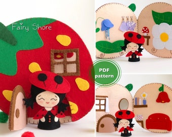 PDF SVG diy felt pattern - Strawberry dollhouse quiet book with ladybug doll - felt book with finger puppet