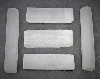 "3"" White Selenite Sticks: 5 Piece Lot, Raw Rough Natural Selenite Wand (Crystal Healing, Reiki, Meditation, Chakra)"