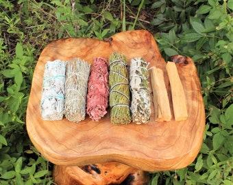 Sage Bundle: Smudge Kit - White Sage, Black Sage, Blue Sage, Cedar Sage, Dragons Blood Sage, 2 Palo Santo (7 Stick SAMPLER) (Incense)
