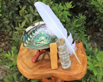 """Smudge Kit - Premium Abalone Shell, Blue Sage Smudge Stick, Palo Santo Wood, Smudging Fan (Feather), 6"""" Tripod Stand and Directions"""
