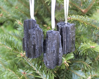 Black Tourmaline Rod / Log Christmas Ornament - Home Decorations - Gemstone Christmas Tree Ornaments (Raw Black Tourmaline)