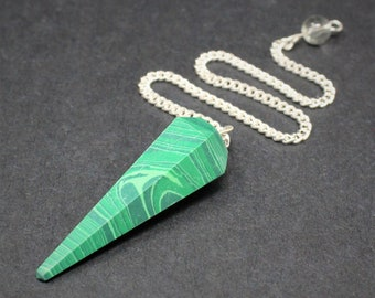Malachite Faceted Pendulum & Chain (Crystal Pendulum, Dowsing, Divination)