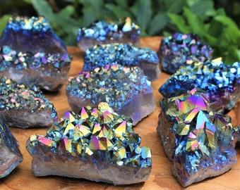 Rainbow Aura Amethyst Cluster - Titanium Aura Amethyst Crystal - Choose Size (Titanium Aura Quartz)