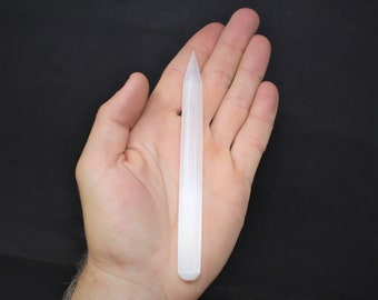 "White Selenite Wand 5"" - 6"" (Selenite Pencil, Polished Selenite, Crystal Healing, Reiki, Meditation, Chakra)"
