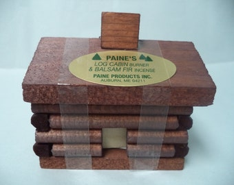 Paine's Small Log Cabin Incense Burner with Smoking Chimney + 10 Fir Balsam Logs (Decorative Incense Holder) Christmas Incense