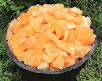 Rough Natural Orange Calcite Premium Grade Stones: Choose 4 oz, 8 oz, 1 lb, 2 lb, 5 lb Bulk Lot (Orange Calcite, Raw Orange Calcite)