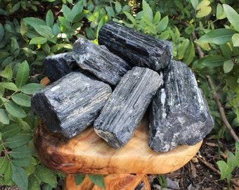 Black Tourmaline Rod / Log: MASSIVE Specimens Regular Grade, Rough Huge Black Tourmaline Logs with Mica / Quartz Inclusions
