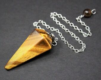 Tiger Eye Pendulum & Chain, Facated (Crystal Pendulum, Dowsing, Divination, Gold Tiger Eye)