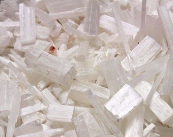 Selenite Pieces Mixed Sizes: Crystal Wand Blades Logs Shardes CLEARANCE - You Choose Amount (8 oz, 2 lb, 5 lb or 10 lb ) Bulk Wholesale Lot